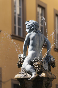 The little Bacchus of the fountain in piazza del Comune