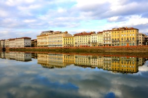 The hotels along the river Arno