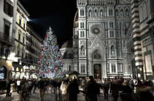 The Christmas tree in Duomo square